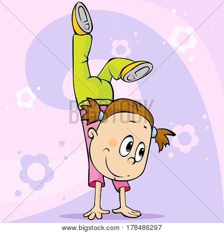 girl make handstand - vector cartoon illustration