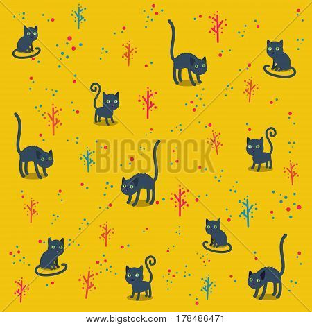 Pattern with funny cats on yellow background. Vector illustration.
