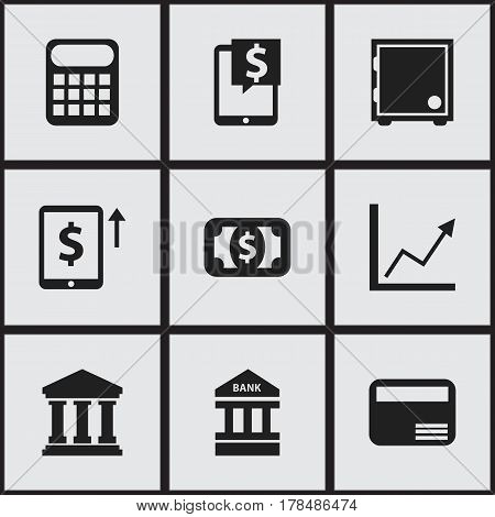 Set Of 9 Editable Investment Icons. Includes Symbols Such As Diagram, Money Card, Computation Machine And More. Can Be Used For Web, Mobile, UI And Infographic Design.