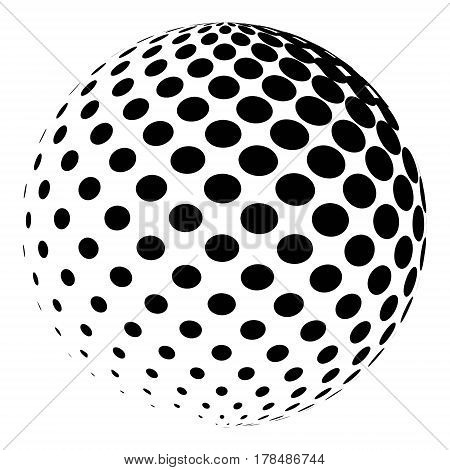 Sphere with a halftone pattern. Dotted orb design element isolated on white. vector 3D logo