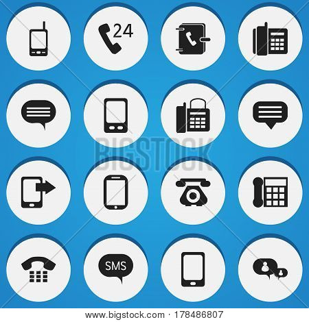 Set Of 16 Editable Device Icons. Includes Symbols Such As Message, Call, Office Telephone And More. Can Be Used For Web, Mobile, UI And Infographic Design.