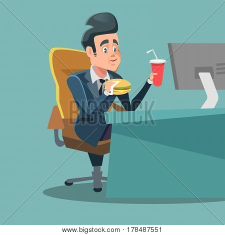 Businessman Cartoon Eating Fast Food at Office Work Place. Unhealthy Eating. Vector illustration