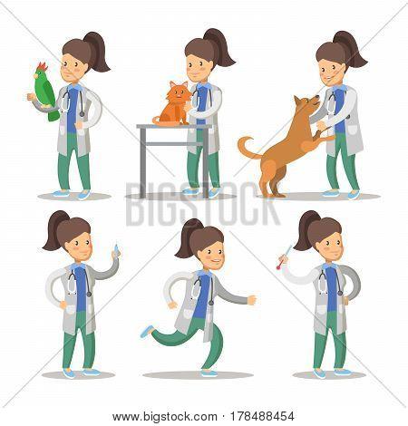 Vet Woman Cartoon Character Set. Pets Health Care. Vector illustration