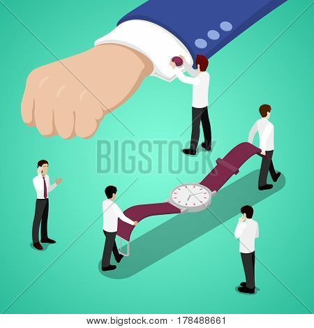 Miniature People Wearing Watches on Wrist. Vector flat 3d isometric illustration
