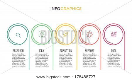 Business infographics. Presentation with 5 options, sections.