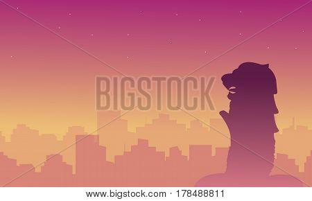 Silhouette of Singapore city beauty landscape vector illustration