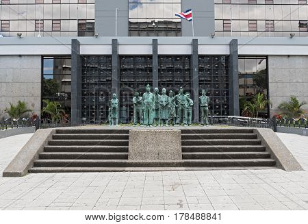 SAN JOSE, COSTA RICA-MARCH 04, 2017: Monument of the Costa Rican Workers in San Jose Costa Rica