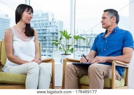 Woman consulting a therapist in the clinic