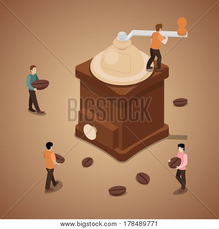 Miniature People Grinding Coffee Beans in Machine. Vector flat 3d isometric illustration