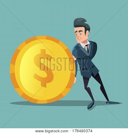 Businessman with Money. Man Pushes Big Golden Coin. Investment Concept. Vector illustration