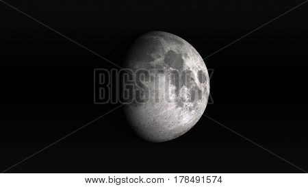 The Moon in waxing gibbous phase on a black background. Digital illustration. Moon texture is public domain provided by NASA.