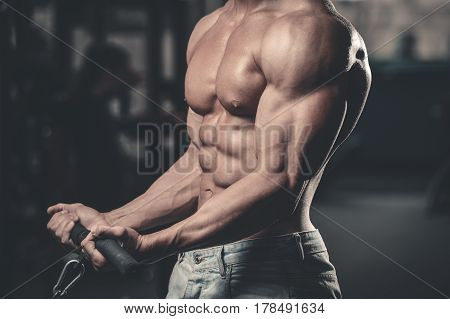 Handsome Power Athletic Man On Diet Training Pumping Up Muscles