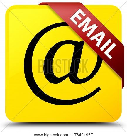 Email (address Icon) Yellow Square Button Red Ribbon In Corner