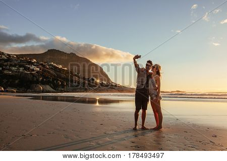 Romantic Young Couple Taking Selfie