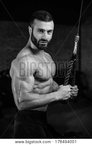 Brutal Caucasian Handsome Fitness Men On Diet Training Triceps Gym