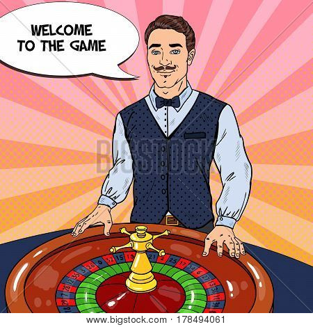 Croupier Behind Roulette Table. Casino Gambling. Pop Art Vector retro illustration