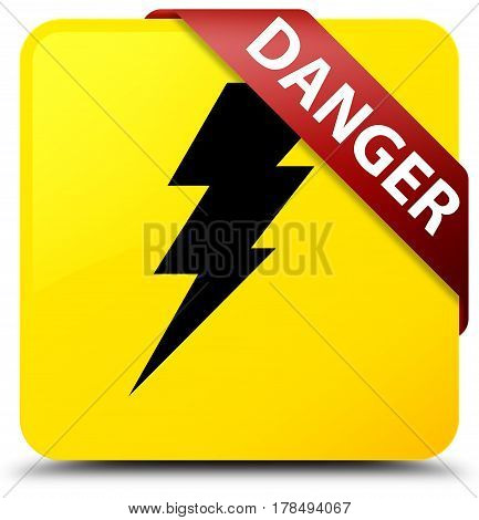Danger (electricity Icon) Yellow Square Button Red Ribbon In Corner