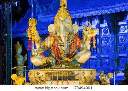 Ganesha god statue in Wat Srisuphan temple in Chiang Mai Thailand Ganesha God is elephant God in Hindu religion.