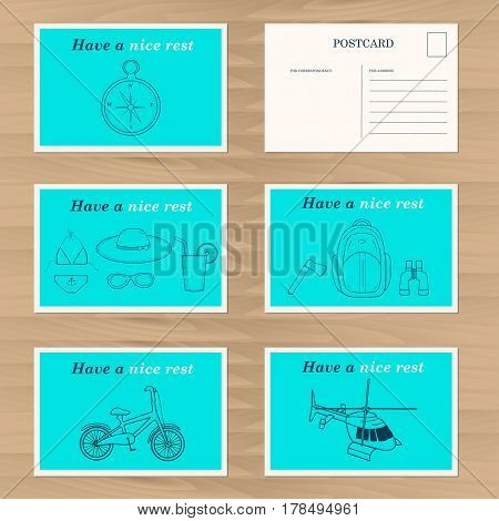 Travel card design template. Happy holidays. Creative bicycle, compass, binoculars ,glasses, juice, hat,  backpack axe swimsuit icons. Vector illustration