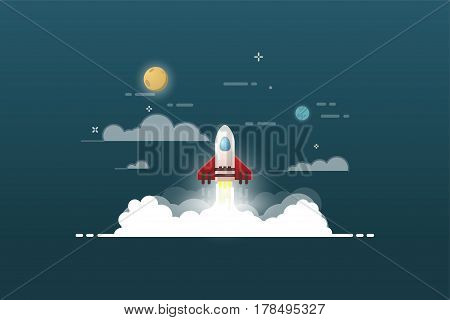 Rocket launch and smoke. Startup project vector illustration. Cosmos view. Sky with clouds planets and stars. Thin line flat style banner. Glowing fire. Web product or business start up concept.