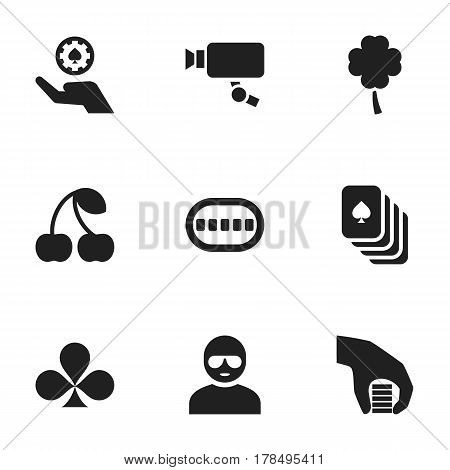 Set Of 9 Editable Game Icons. Includes Symbols Such As Berry, Tracking Cam, Playing Cards And More. Can Be Used For Web, Mobile, UI And Infographic Design.