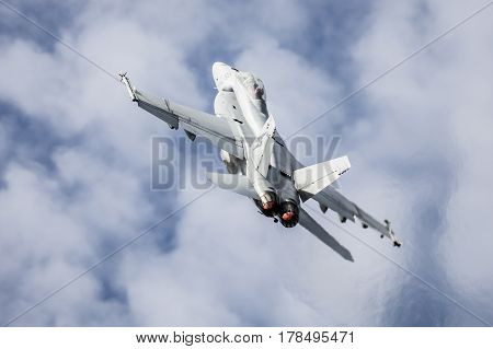 MELBOURNE, AUSTRALIA - MARCH 24: An Royal Australian Air Force FA18F Super Hornet performs in a public display above Melbourne on March 24, 2017