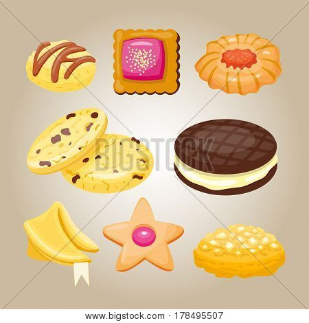 Different cookie homemade breakfast bake cakes isolated and tasty snack biscuit pastry delicious sweet dessert bakery eating vector illustration. Gourmet indulgence stack unhealthy confectionery.