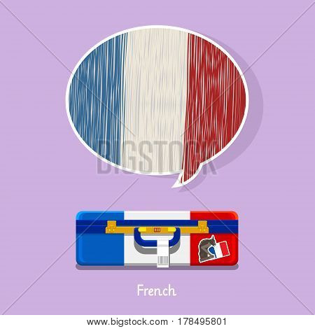 Concept of travel or studying French. Hand drawn French flag in speech bubble above suitcase with French symbols.