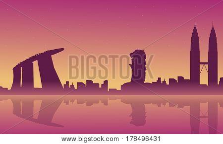 Silhouette of city tour Singapore Malaysia scenery vector art