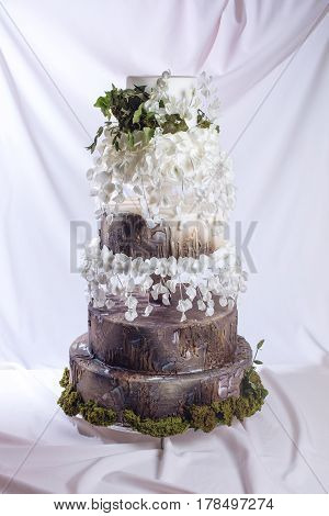 Wedding Cake In The Form Of Stump Wood And Bark