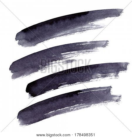 Set of long black brush strokes isolated on the white background. Elements for your design