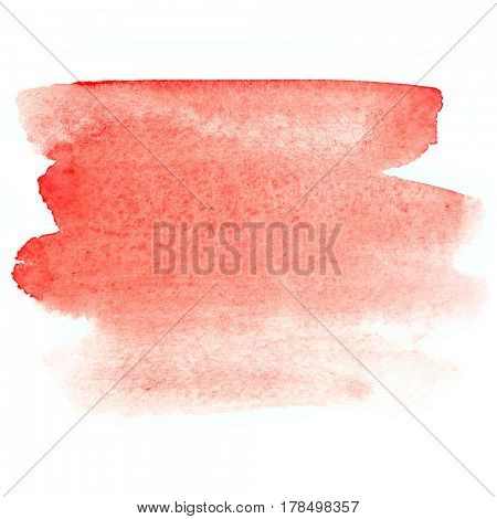 Red brush stroke. Abstract watercolor background. Vivid element for your design