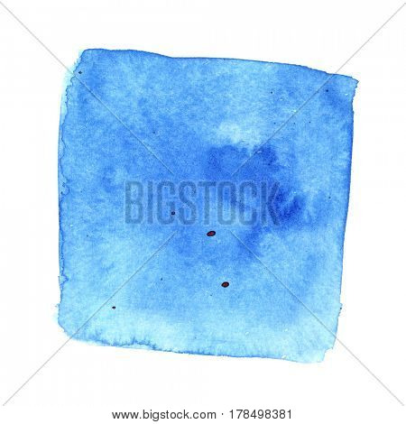Blue wry watercolor square with stains. Abstract background. Element for your design