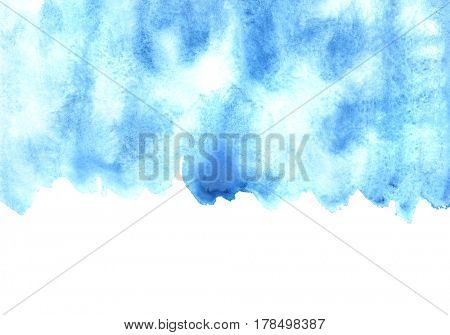 Blue watercolor strokes wirh edge. Abstract background. Space for your text