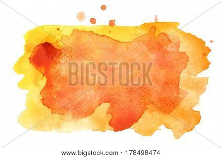 Yellow - orange watercolor stains. Vivid element for your design. Colorful frame fo text