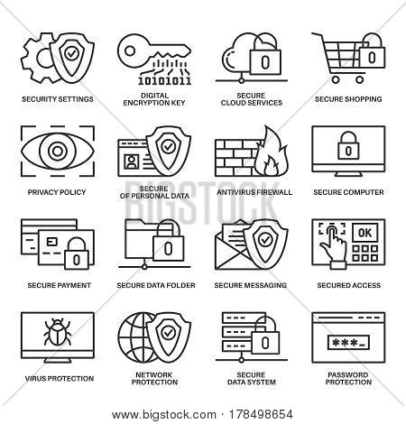 Internet security information protection outline linear icon set