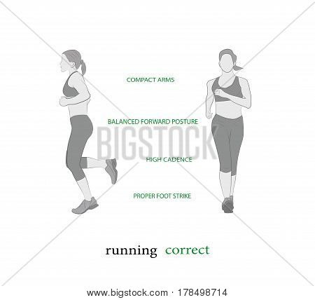 Woman running. Sport, getting rid of excess weight. healthy lifestyle. vector illustration.