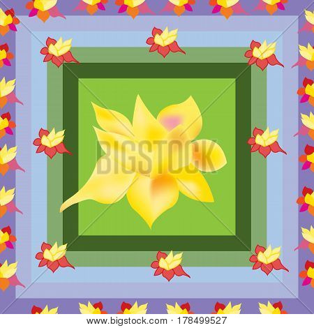 Abstract flower pattern. Seamless daffodil in dials.