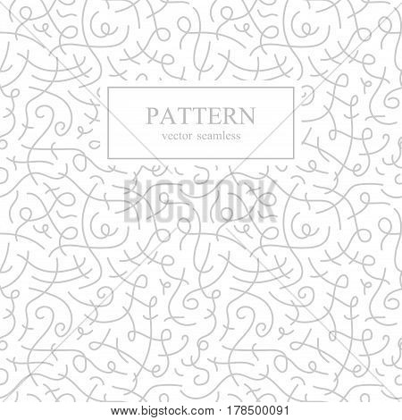 Curve seamless pattern. Retro fashion.White and gray background.