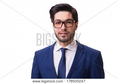 Portrait of young businessman isolated on white