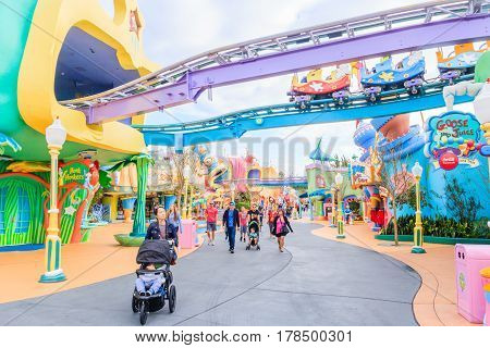 ORLANDO USA - JANUARY 05 2017: Adventure Island of Universal Studios Orlando. Universal Studios Orlando is a theme park resort in Orlando Florida.