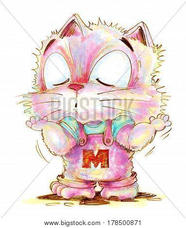 Cat cartoon cute ignoring something pencil color sketch design.