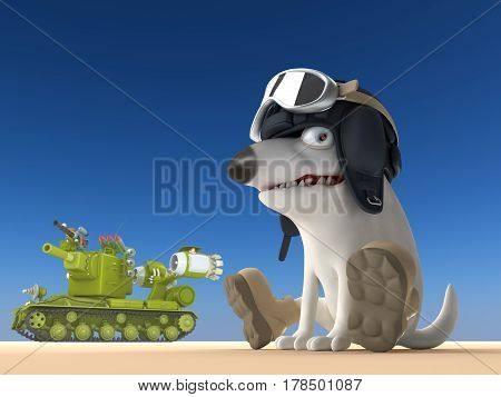 Dog tanker 3d illustration. Funny bull terrier on blue background. Cartoon character.