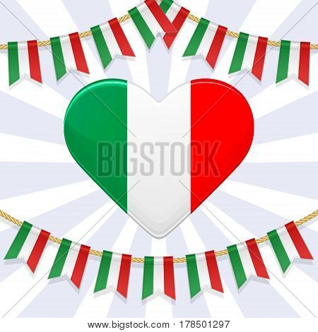 Vector illustration for National Day of Italy. Bunting decoration and heart in colors of italian flag. Garlands pennants on a rope for party carnival festival celebration. Flyer poster template