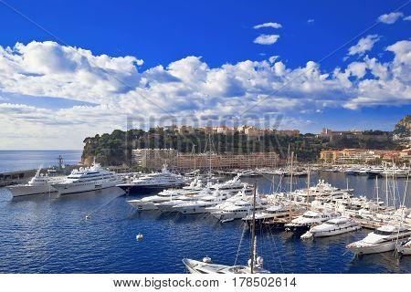 MONTE CARLO, MONACO - OCTOBER 06, 2014: Port of Monte Carlo with Luxury yachts