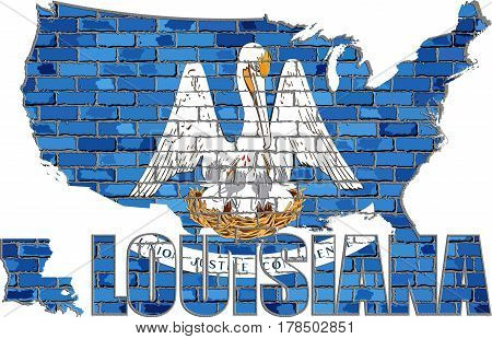 Louisiana on a brick wall with effect - 3D Illustration