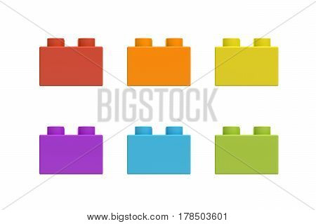 3d rendering of six multicolored toy blocks isolated on white background. Games and toys. Spare parts and pieces.