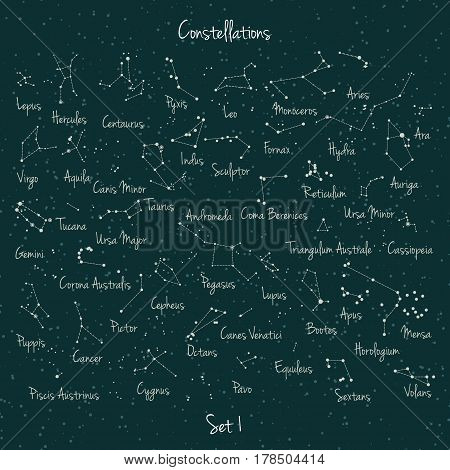 Vector big set of 45 constellations on green retro background. Astronomy education school set