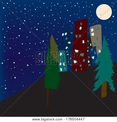 Illustration of town in the night with sky full of stars