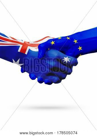 Flags Australia European Union countries handshake cooperation partnership friendship or competition concept isolated white